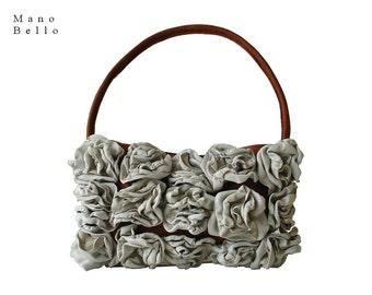 Leather Flower Bag, Gardenia Handmade Leather Flower Purse, Demi Bag, Small Flower Handbag, Ivory off-White & Tan Leather Bag  in stock