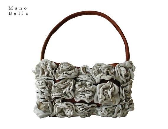 Bespoke Leather Flower Bag, Leather Flower Purse, Demi Bag, Small Flower Handbag, Oyster White & Tan Leather Bag  in stock