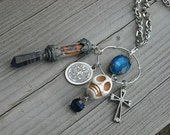 Bottle Necklace, Vial Necklace, Charm Necklace, Skull, Cross, Found Objects, Steampunk, Amethyst, Blue Gemstones,