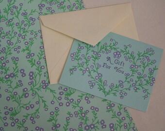 Vintage Current Gift Wrap Sheet & Card Set - Sweet Violets