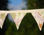 SALE Eco Friendy Wedding Decoration - Fabric Bunting - Flag - Banner - Organic Cotton Floral -  Home Decor