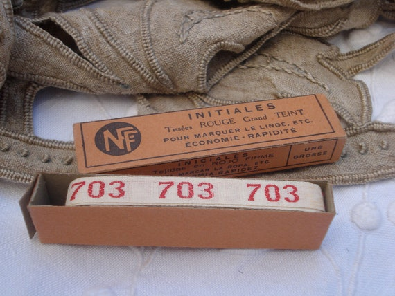 vintage french laundry label numbers 703 linen kitchen cloth....