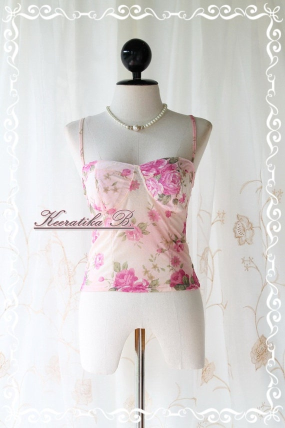 Sexy Top - Elastic Thin Delicate Short Bustier Top Floral Print Light Pink Background Spaghetti Strap Mix And Match Item  XS-S