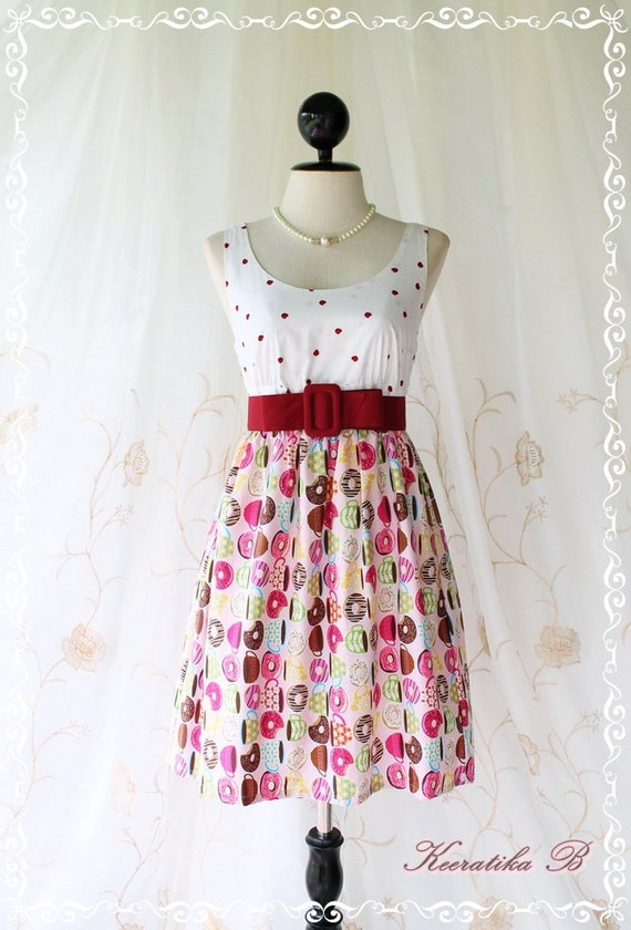 Last Piece SALE - Floral Party ll - Adorable Sundress White Top With Red Apple Printed Pink Skirt Playful Cutie Candy Donuts Print XS-S