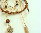 Baby mobile - baby crib mobile -native american dream catcher tribal craft OOAK weaved in yellow and brown