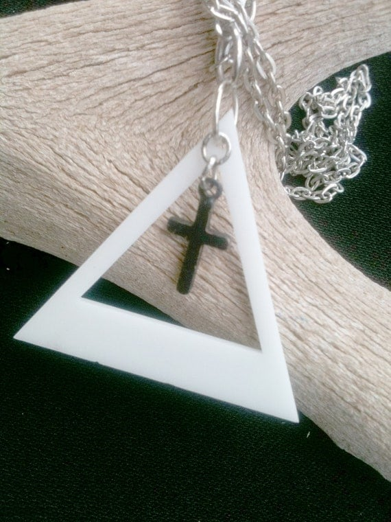 CLEARANCE SALE Long White Pyramid Triangle Black Cross  Hex Necklace