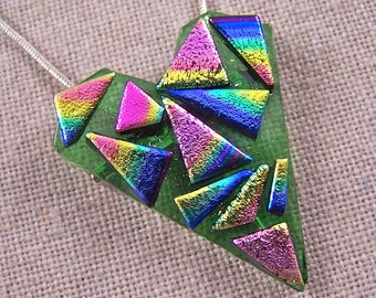 """Dichroic Pendant & Brooch- Shard Heart Bright Pink Gold Blue Tie Dye Shards of Fused Glass On Green - 1.75"""""""
