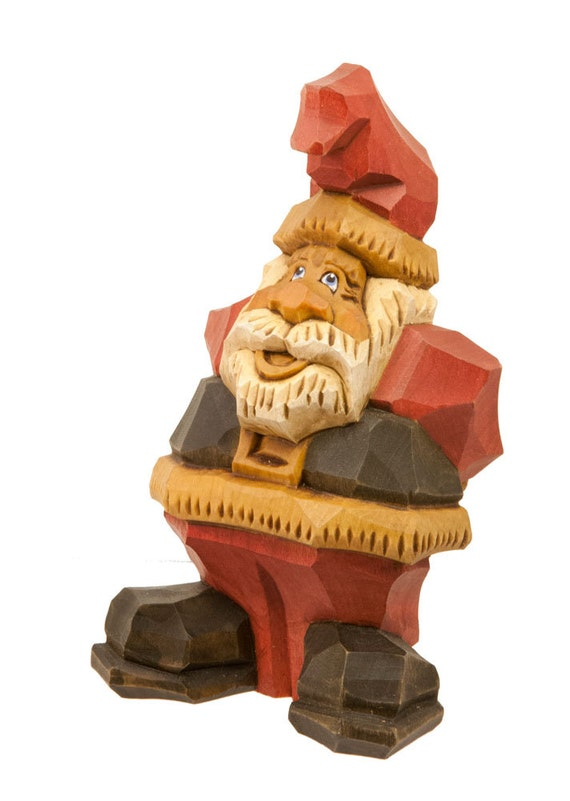 Hand Carved Wooden Santa in Traditional Red Coat, Black Belt with Hands Behind Back