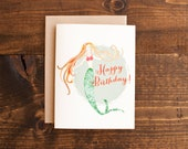 Birthday card - mermaid - hand painted - illustration