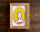 Funky illustration - 5 x 7 print - pretty lady - fashion illustration - mod lady