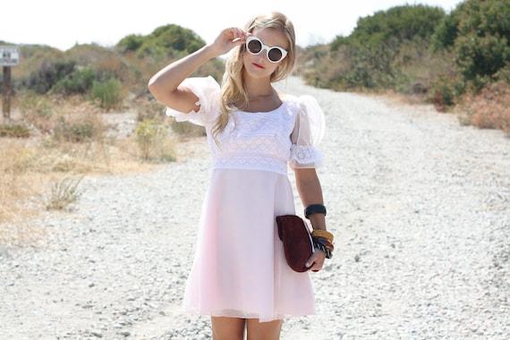 VTG 1960s 60s Lorrie Deb Sheer Light Pink Babydoll Dress w/ Lace XS/S
