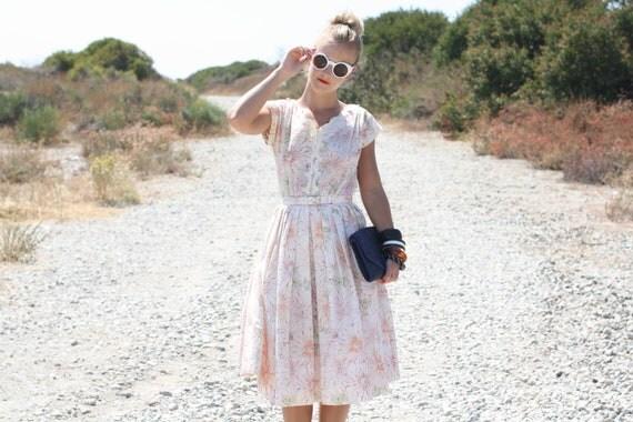 VTG 1950s 50s R&K Originals Floral and Dot Print Dress w/ Belt S/M