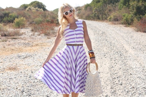 VTG 1950s 50s Purple and White Striped Dress w/ Full Skirt XS