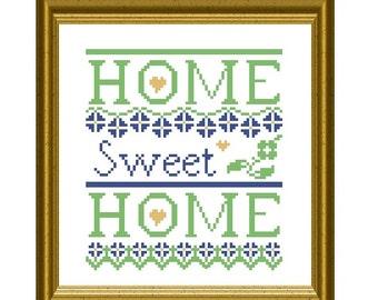 Home Sweet Home Victorian Sampler Counted Cross Stitch PDF Pattern