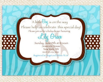 Safari  Baby Shower Invitations - Boy Girl