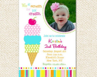 Ice Cream Birthday Invitations