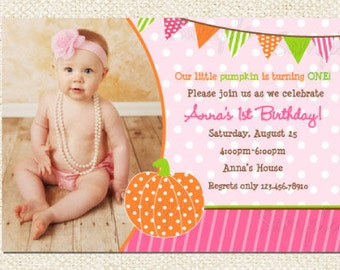 Pumpkin Birthday Party Invitations