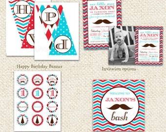 Mustache Little Man  - DIY Printable Personalized Birthday Party Package Party Pack