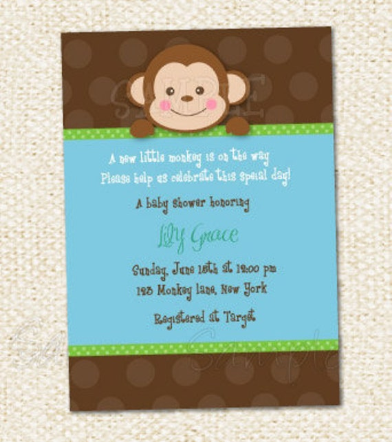 Items similar to Monkey Baby Shower Invitations on Etsy