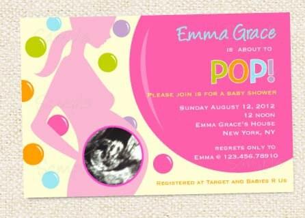 ready to pop baby shower invitation