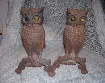 Fireplace Andirons Owls with Yellow Glass Eyes 1800's Wrought Iron Americana Primitive