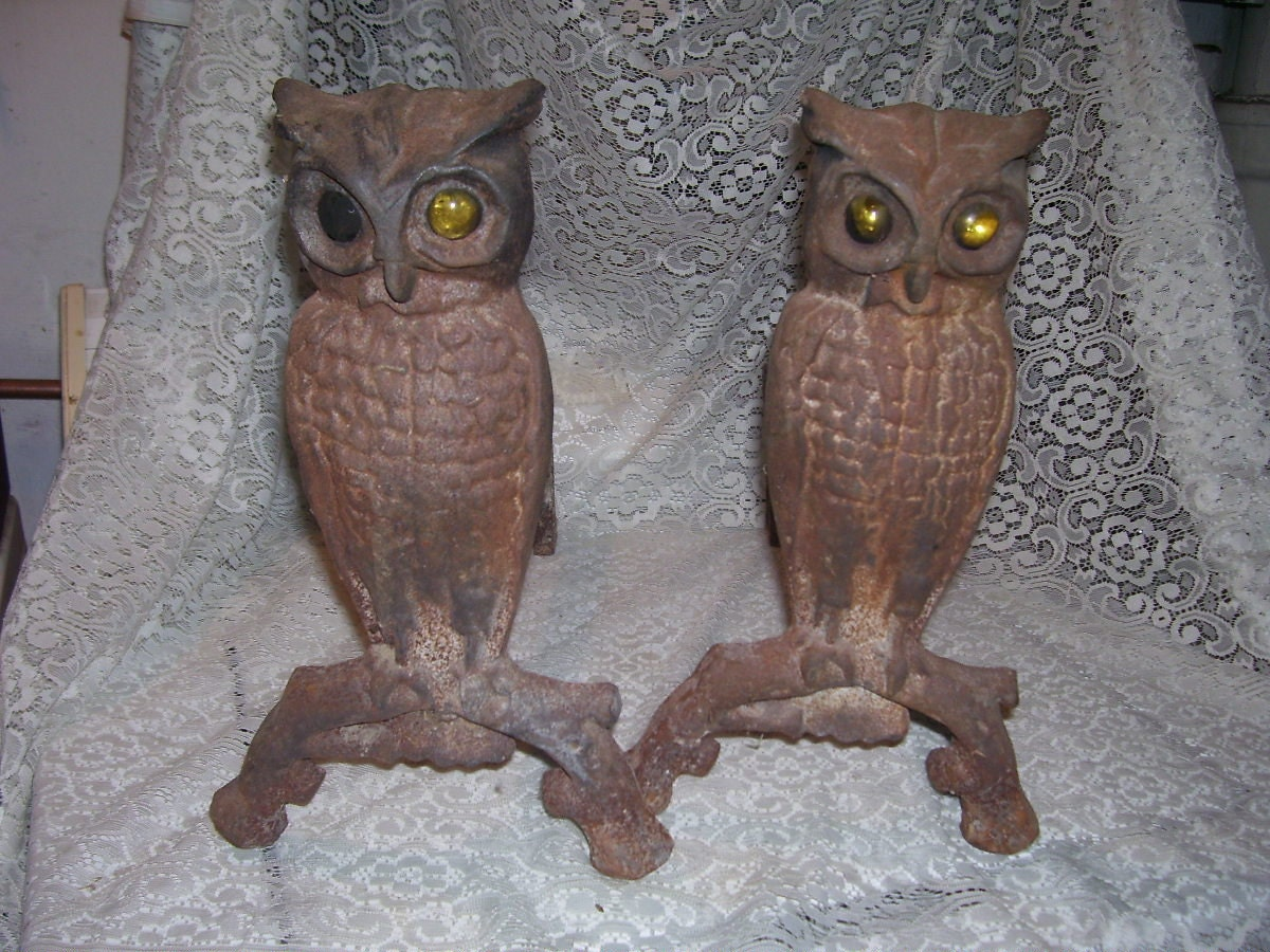Fireplace Andirons Owls with Yellow Glass Eyes 1800's Wrought Iron ...