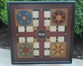 "Large 25"" x 25"" Primitive Wood Parcheesi Game Board Folk Art Gameboard"