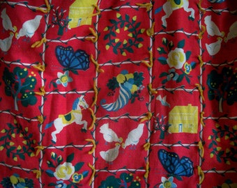 Vintage Barkcloth Child Quilt Fall Country Life