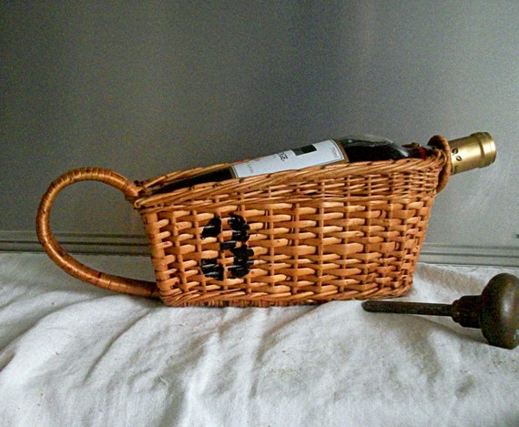 Vintage Wicker Basket Wine Bottle Holder
