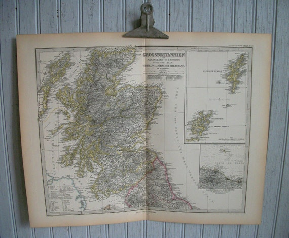 Antique Map of Great Britian 19th Century German