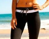 black cotton yoga pants three tone