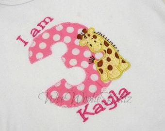 Girls Giraffe Birthday T Shirt Bib Boys Appliqued Personalized Jungle Zoo 1st 2nd 3rd