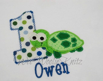 Boys Turtle Birthday T Shirt Bib Personalized Applique 1st 2nd 3rd 4th ANY NUMBER