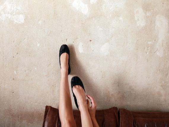 custom listing for Jennifer.......black urban leather ballet flats
