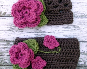 The Sofia Flower Beanie in Taupe, Pink Rose and Olive Green with Matching Diaper Cover Available in Newborn to 24 Months Size- MADE TO ORDER