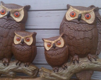 Vintage Owls Burwood Products Company 1977 Wall Hanging Home Decore Vintage Home Decor