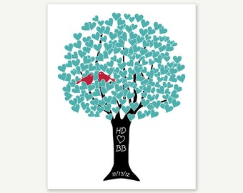 Personalized Gift Engagement Wedding 1st Anniversary - Lovebirds in Tree, Custom Colors, Many Sizes