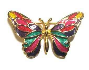 Vintage Multi-Colored Enamel Butterfly