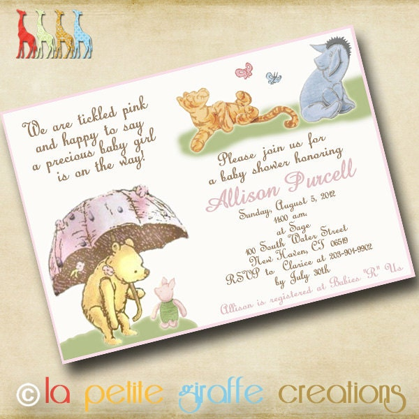 classic winnie the pooh baby shower invitations baby shower invitation