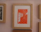Chalet linocut print orange