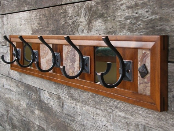 Cherry Coat Rack, Coat and Hat Rack, Wall Coat Rack, Rustic Stone, Wall Mirror