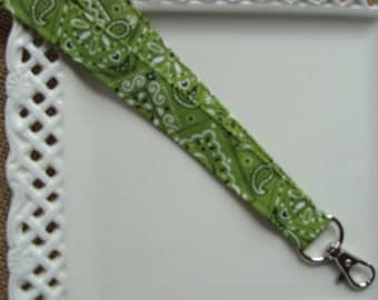 Fabric Lanyard-  Lime Green Bandana