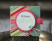 Hi There - Lunchbox note - stripes with pink ribbon