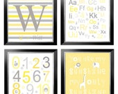 You are my sunshine, Alphabet, Numbers and Letter Initial quad set in yellow and grey for boy or girl 11.5 x 11.5 by YassisPlace