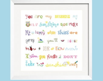 You Are My Sunshine Print 20x20 Rainbow colors for boys and girls room decor by Yassisplace