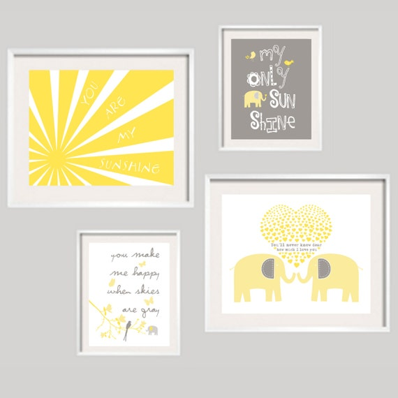 Items similar to Elephant Nursery Decor You Are My Sunshine Nursery Decor  Kids Wall Art, Yellow and Grey Pictures, baby girl boy wall decor -  UNFRAMED ...