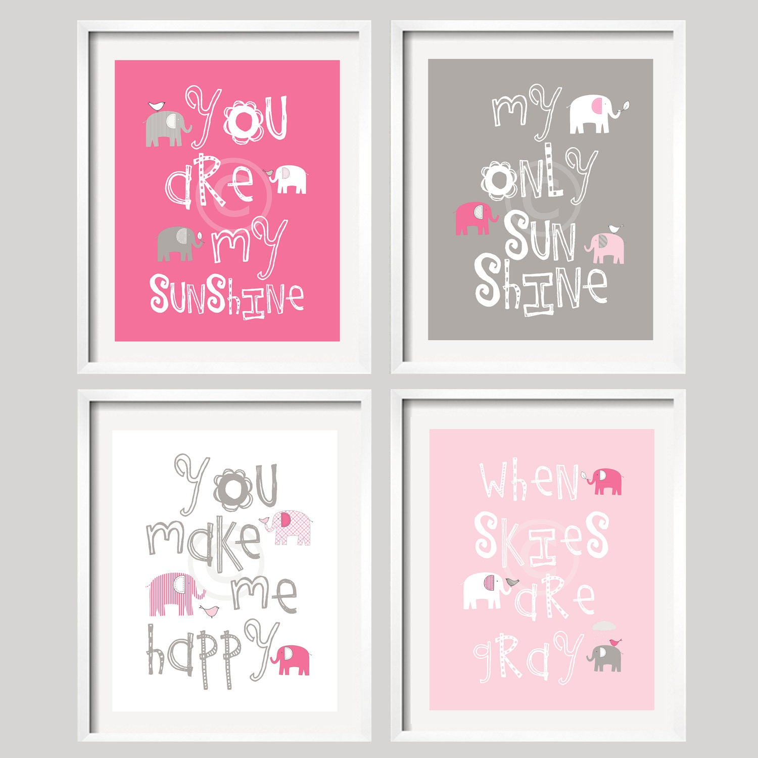 Elephant Art You Are My Sunshine Pink Grey Baby Girl Elephant