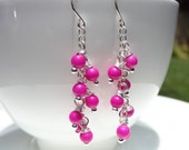Hot Pink Waterfall Earrings