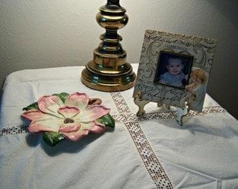 On Sale Vintage Cotton Lace Table Cloth Square Linen Vintage Collectible Scarf