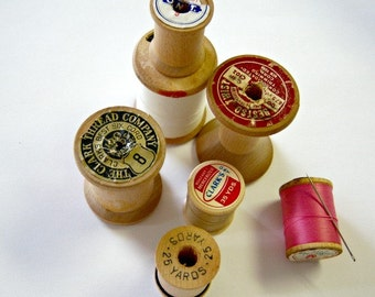 Vintage Instant Collection Wooden Spools Thread  Online Vintage, vintage clothing, home accents, vintage sewing kit